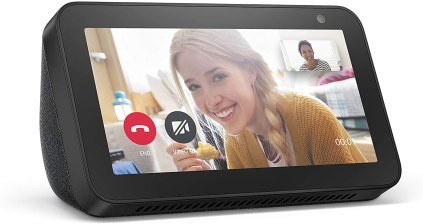 Up close of the Echo Show with a female pictured during a video call.