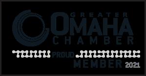 Black and White Greater Omaha Chamber membership logo